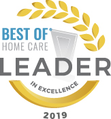 Best of Home Care Leader in Excellence 2019 award icon.