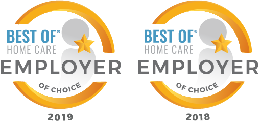 Best of Home Care Employer of Choice 2019 & 2018 award icons