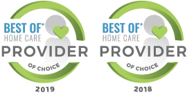 Best of Home Care Provider 2018 & 2019 award icons