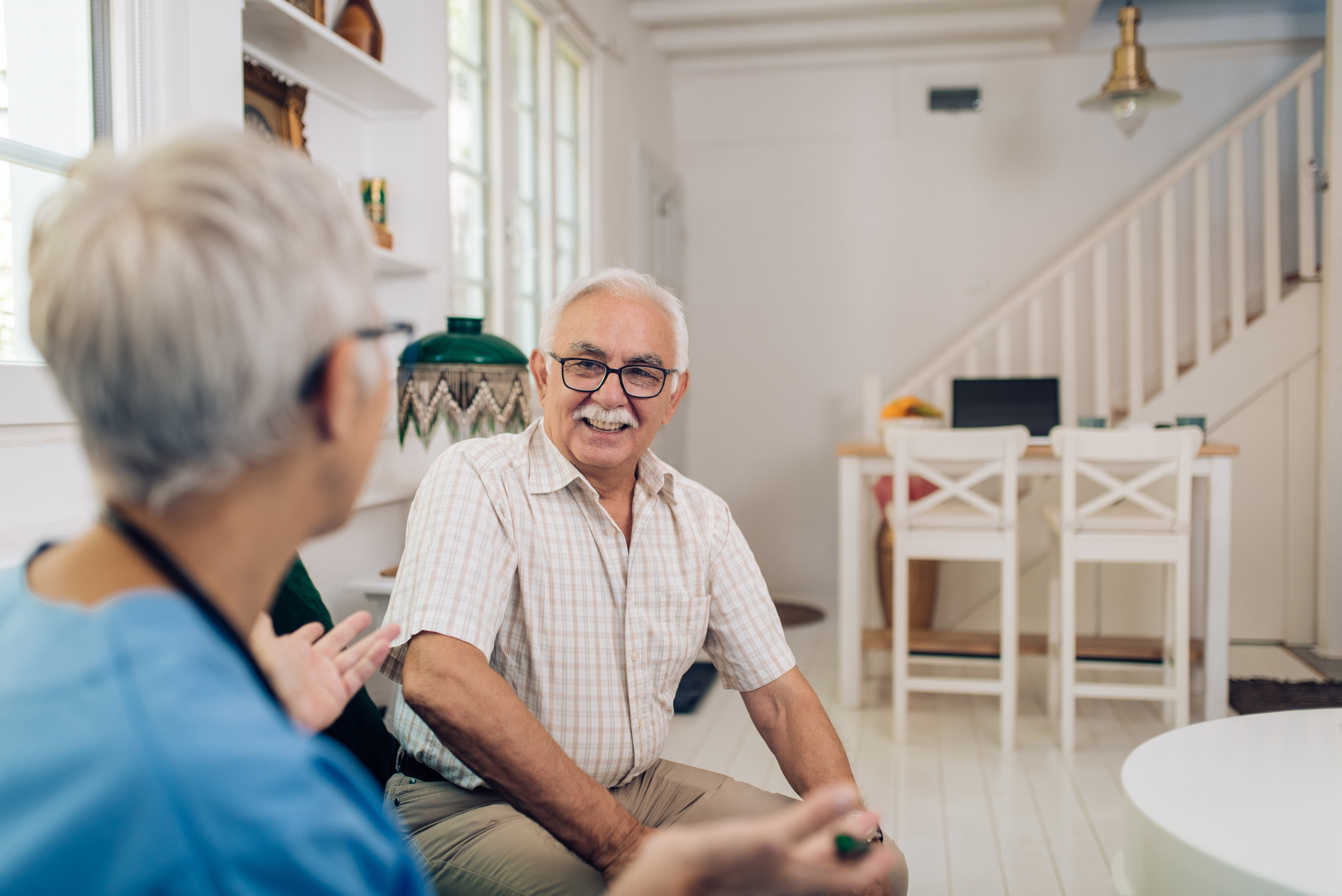 An in-home care consultation provides information on senior care options.